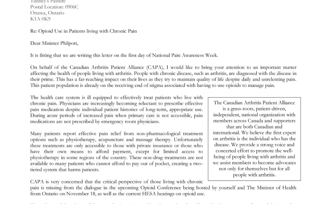 Letter to the Federal Minister of Health Regarding Opioids