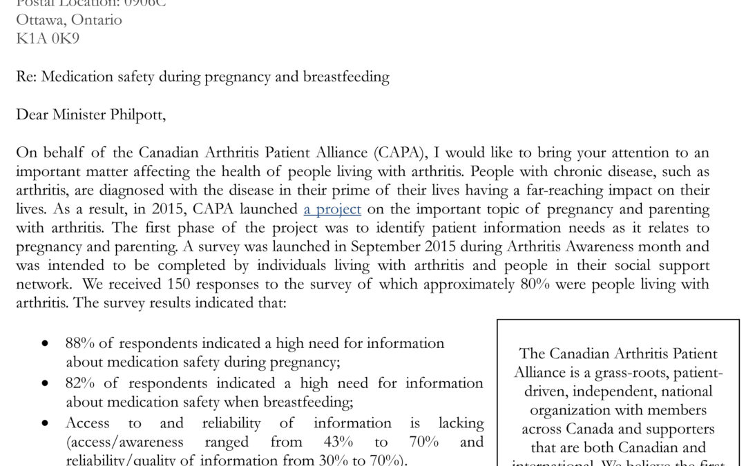 Letter to the Federal Minister of Health Regarding Medication Safety During Pregnancy & Breastfeeding (Sept. 2016)