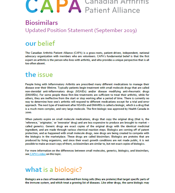 Updated Biosimilars Position Paper