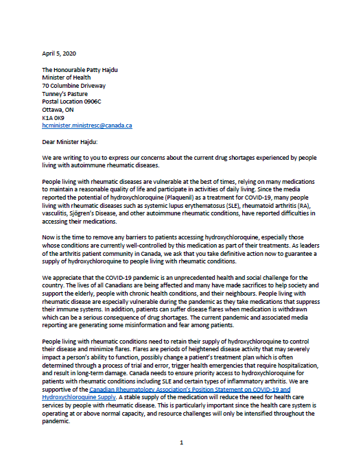 Joint Letter to the Minister of Health Regarding Hydroxychloroquine (Plaquenil)
