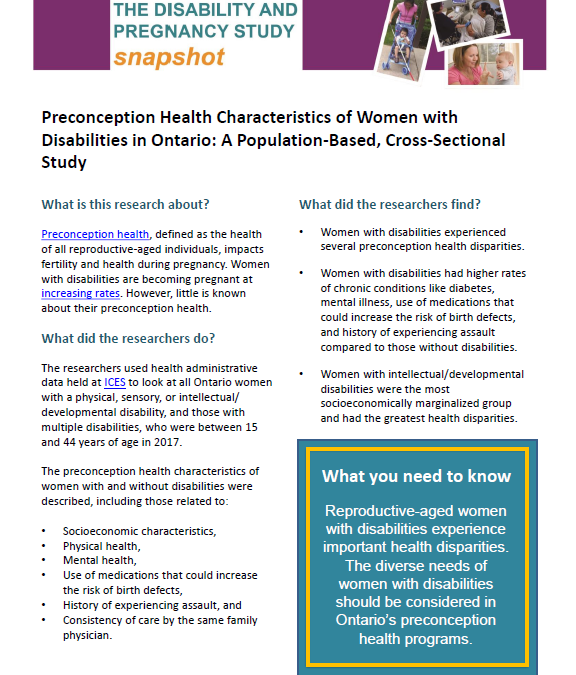 Summarizing Findings of the Study on Preconception Health Characteristics of Women with and without Disabilities