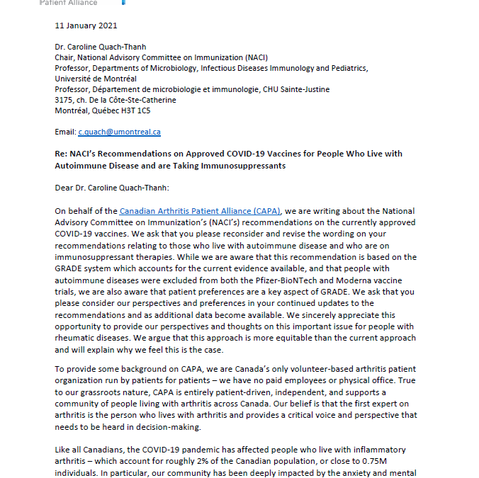 CAPA Letter on NACI's Recommendations on Approved COVID-19 Vaccines for People with Autoimmune Disease