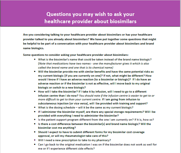 Questions You May Wish to Ask Your Healthcare Provider about Biosimilars