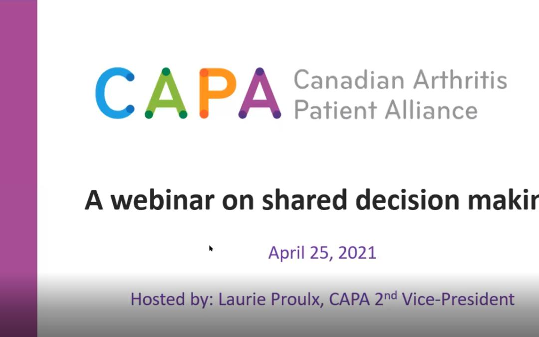 CAPA Shared Decision Making Webinar on April 25th