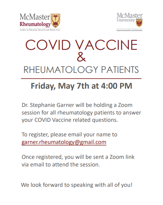 Join Dr. Stephanie Garner for a Session on COVID Vaccine for All RA Patients